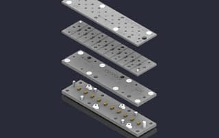 Exploded view of multi site catridge and pin block assembly