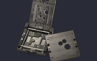 PCB module test socket with clamshell and screw down lid options