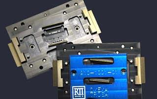 Custom pinned multi stage test socket for fiber optic modules