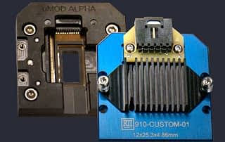 Open bottom PCB module test socket with heatsink and contacts in lid