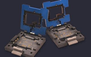 PCB module test sockets with cutouts for SMT components