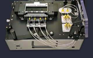 High speed lateral RF contact test fixture box with coaxial probes