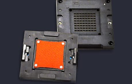Sixty four site test socket for discrete component testing