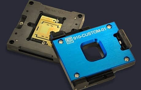 Test socket PCB alignment features with removable hinged lid